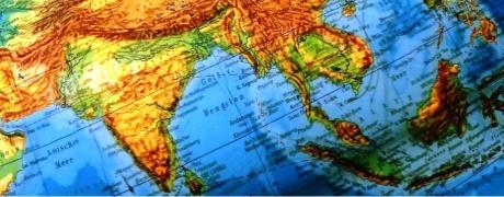 man sieht eine Weltkartenausschnitt von Indien und dem indischen Ozean
